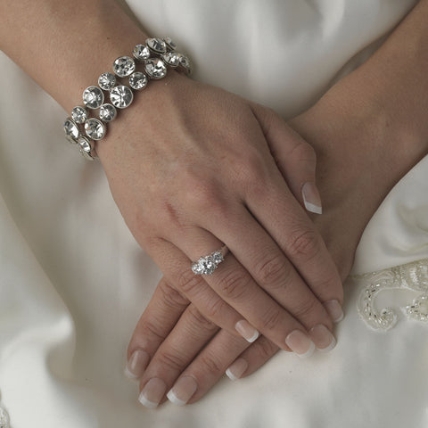 Silver Clear Rhinestone Stretch Bridal Wedding Bracelet B 966