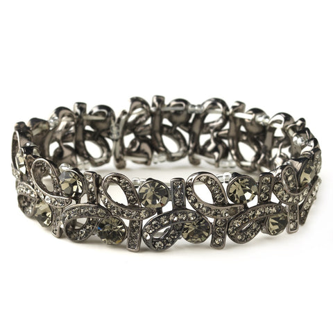 Hematite Smoked Grey Hematite Vintage Stretch Bridal Wedding Bracelet 967