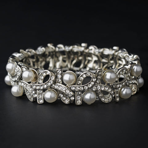 Silver White Pearl Bridal Wedding Bracelet 967