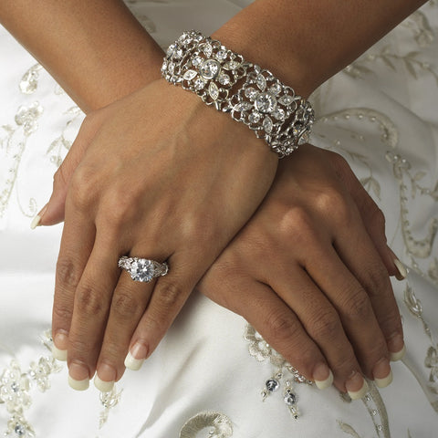 Silver Clear Crystal Stretch Vintage Bridal Wedding Bracelet B 968
