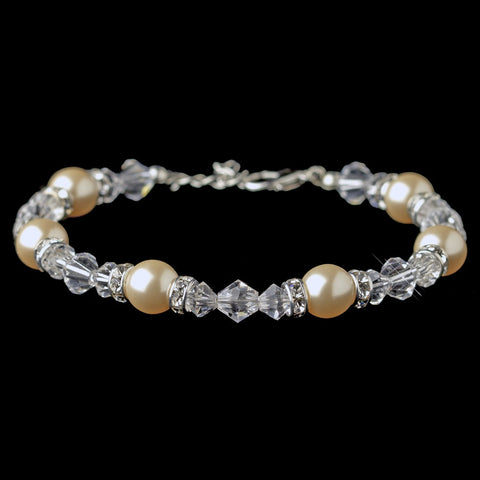 Silver Ivory Pearl, Swarovski Crystal & Roundel Adjustable Bridal Wedding Bracelet 9711