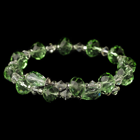 Silver Light Mint Green & Clear Swarovski Crystal Coil Adjustable Stretch Bridal Wedding Bracelet 9714