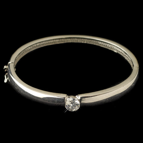 Rhodium Bangle w/ CZ Crystal Center Bridal Wedding Bracelet 7990