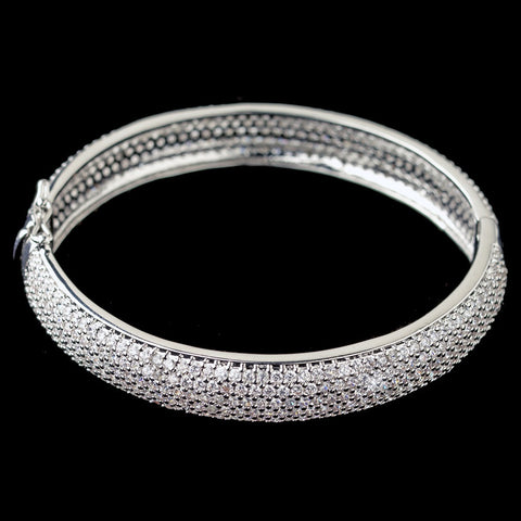 Rhodium Pave Double Sided CZ Crystal Bangle Bridal Wedding Bracelet 607
