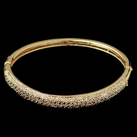 Gold Clear CZ Crystal Pave Bangle Bridal Wedding Bracelet 226