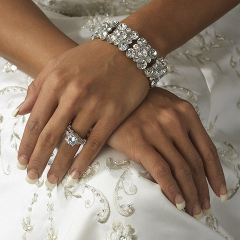 Silver Clear Rhinestone Crystal Bridal Wedding Bracelet B 978