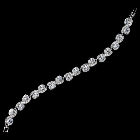 Rhodium Clear CZ Oval Swirl Bridal Wedding Bracelet 9856