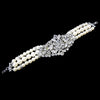 Antique Rhodium Silver Freshwater Pearl & Rhinestone Bridal Wedding Bracelet 9881