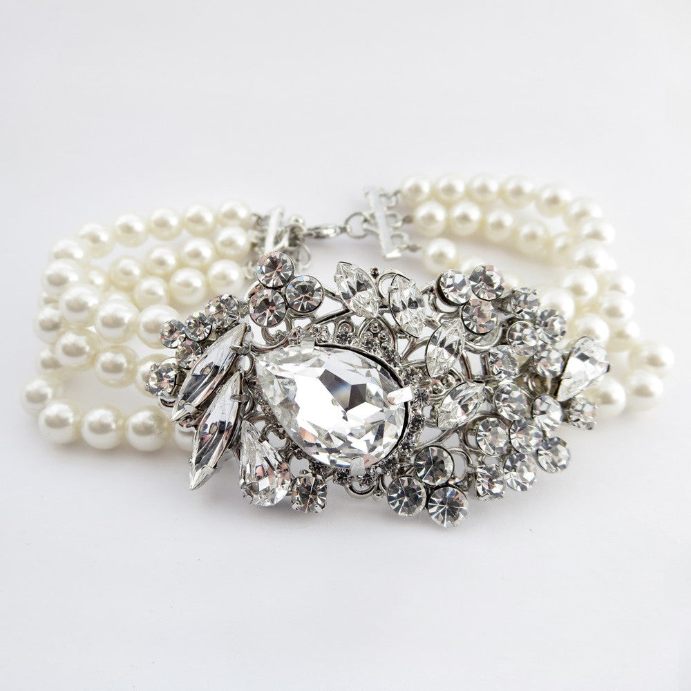 Antique Silver Ivory Bridal Wedding Bracelet 9885