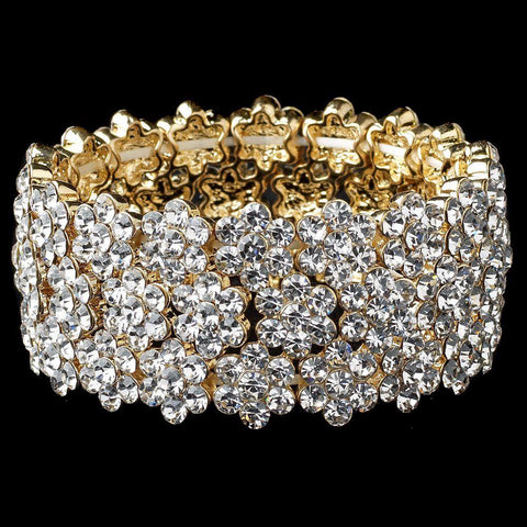 Clear Gold Flower Rhinestone Stretch Bridal Wedding Bracelet 9886