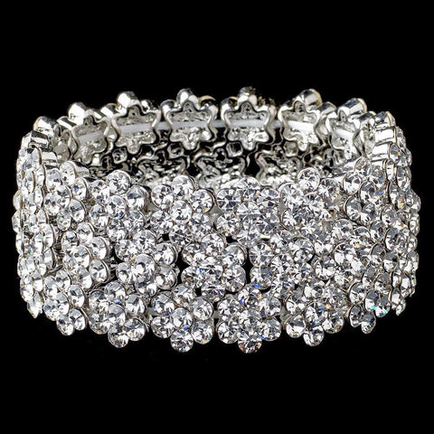 Clear Rhodium Flower Rhinestone Stretch Bridal Wedding Bracelet 9886