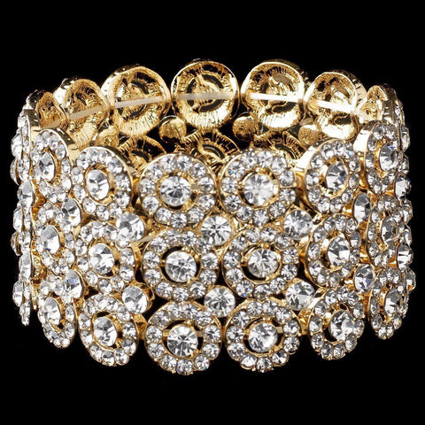 Clear Circle Gold 3 Row Stretch Bridal Wedding Bracelet 9887