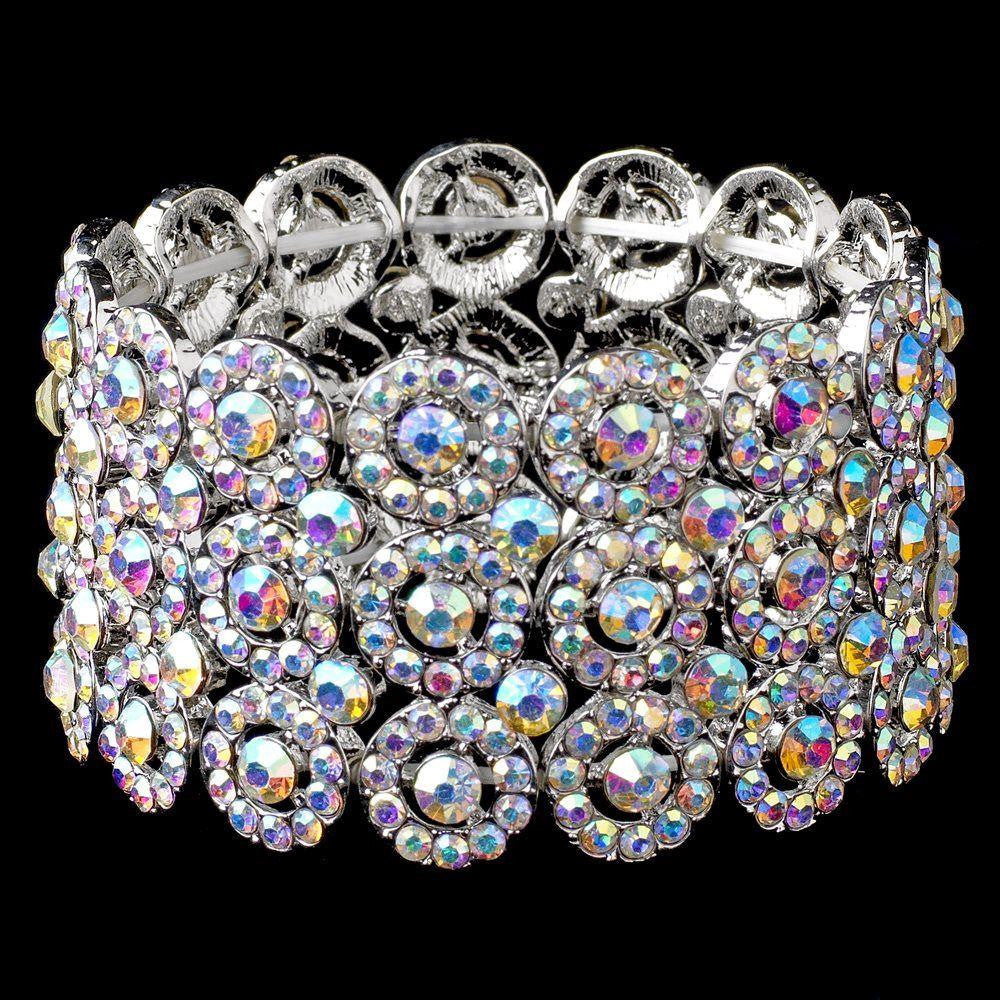 AB Circle Rhodium 3 Row Stretch Bridal Wedding Bracelet 9887