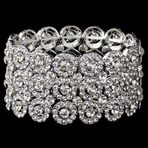 Clear Circle Rhodium 3 Row Stretch Bridal Wedding Bracelet 9887