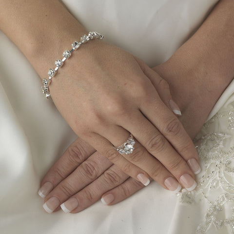 * Clear Rhinestone Bridal Wedding Tennis Bridal Wedding Bracelet B 99