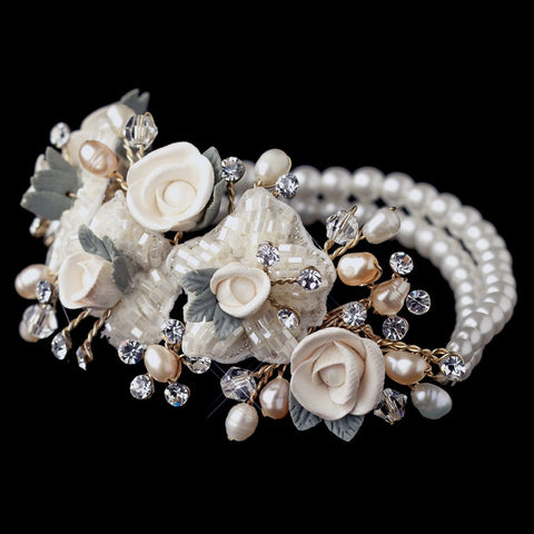 Gold Freshwater Rum Pearl, Faux Ivory Pearl & Rum Rose Stretch Bridal Wedding Bracelet 9900
