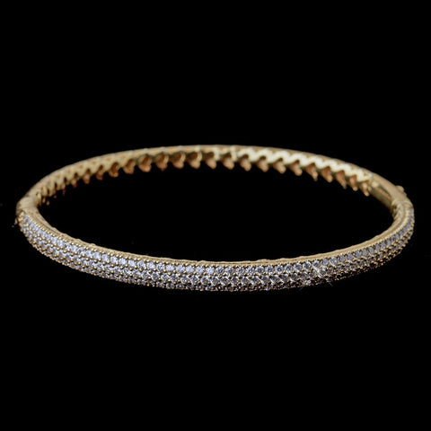 Gold Clear CZ Pave Bangle Bridal Wedding Bracelet 9950
