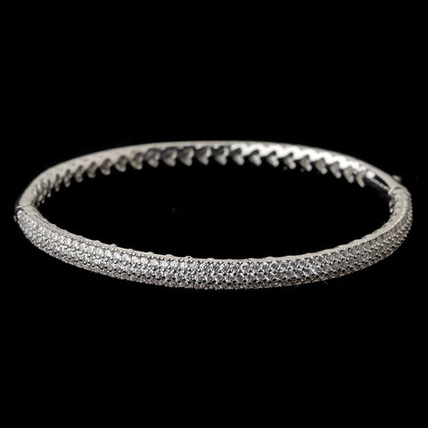 Rhodium Clear CZ Pave Bangle Bridal Wedding Bracelet 9950