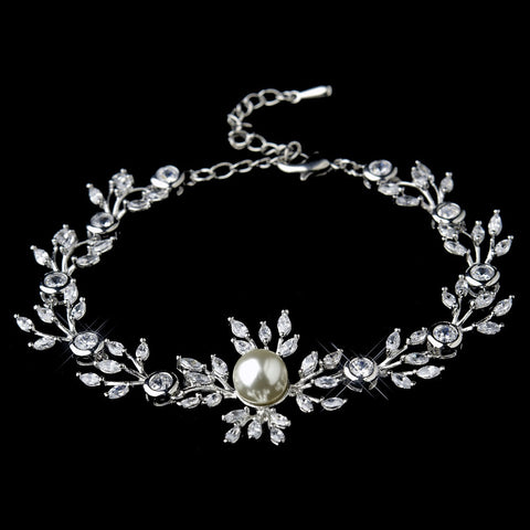 Silver Clear Marquise Round CZ Crystal & Ivory Glass Pearl Bridal Wedding Clasp Bridal Wedding Bracelet 9955