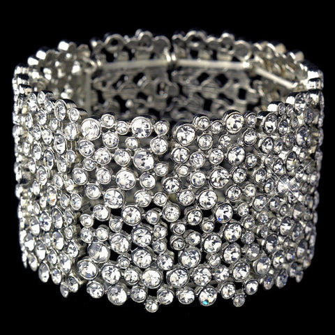 Antique Silver Clear Rhinestone Stretch Bridal Wedding Bracelet 9977