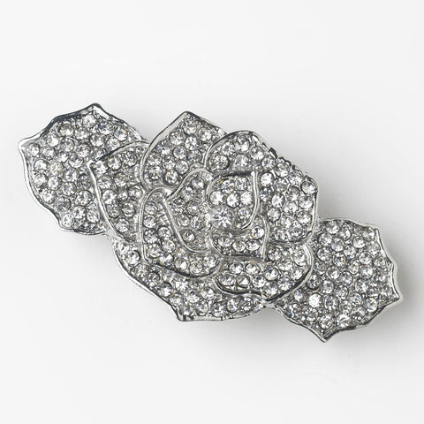 Rhinestone Covered Flower Bridal Wedding Hair Barrette in Antique Silver 70963
