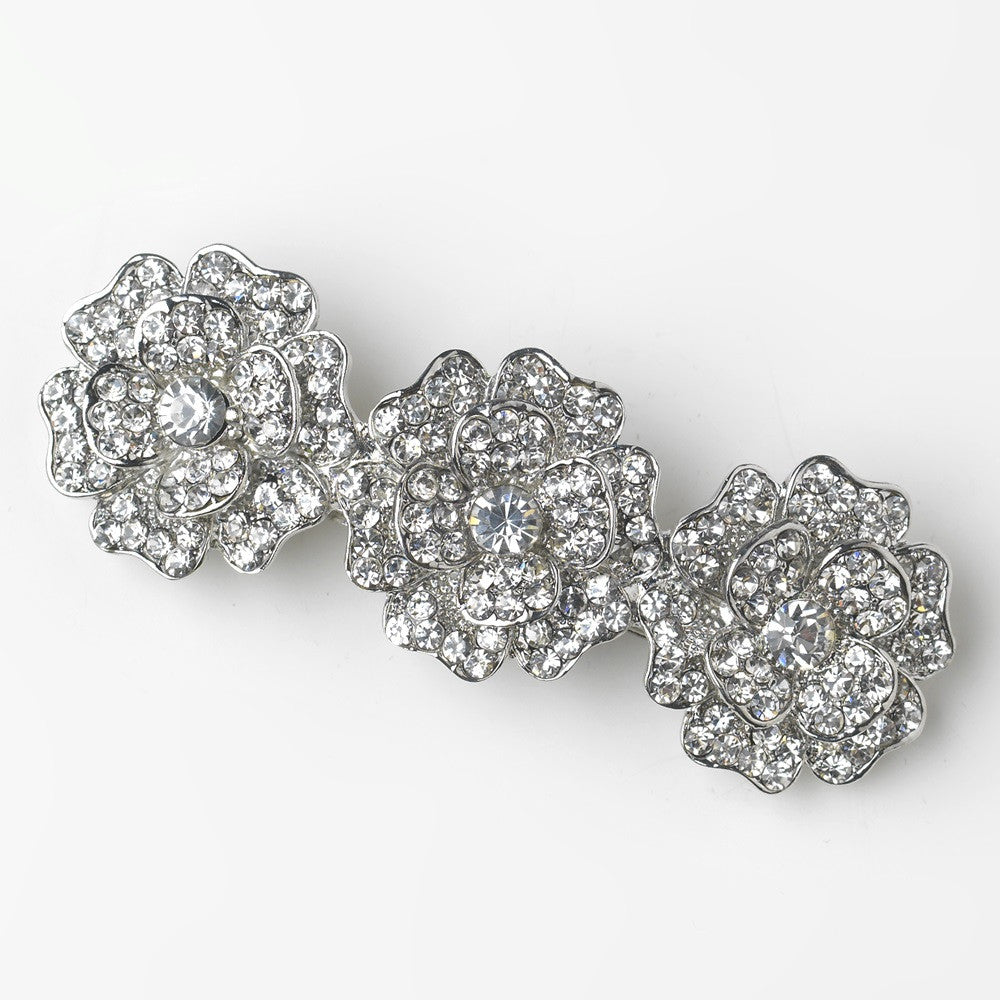 Antique Silver Clear Rhinestone Encrusted Flower Bridal Wedding Hair Barrette 70965