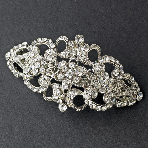 Vintage Rhodium Silver Rhinestone Bridal Wedding Hair Barrette 2030
