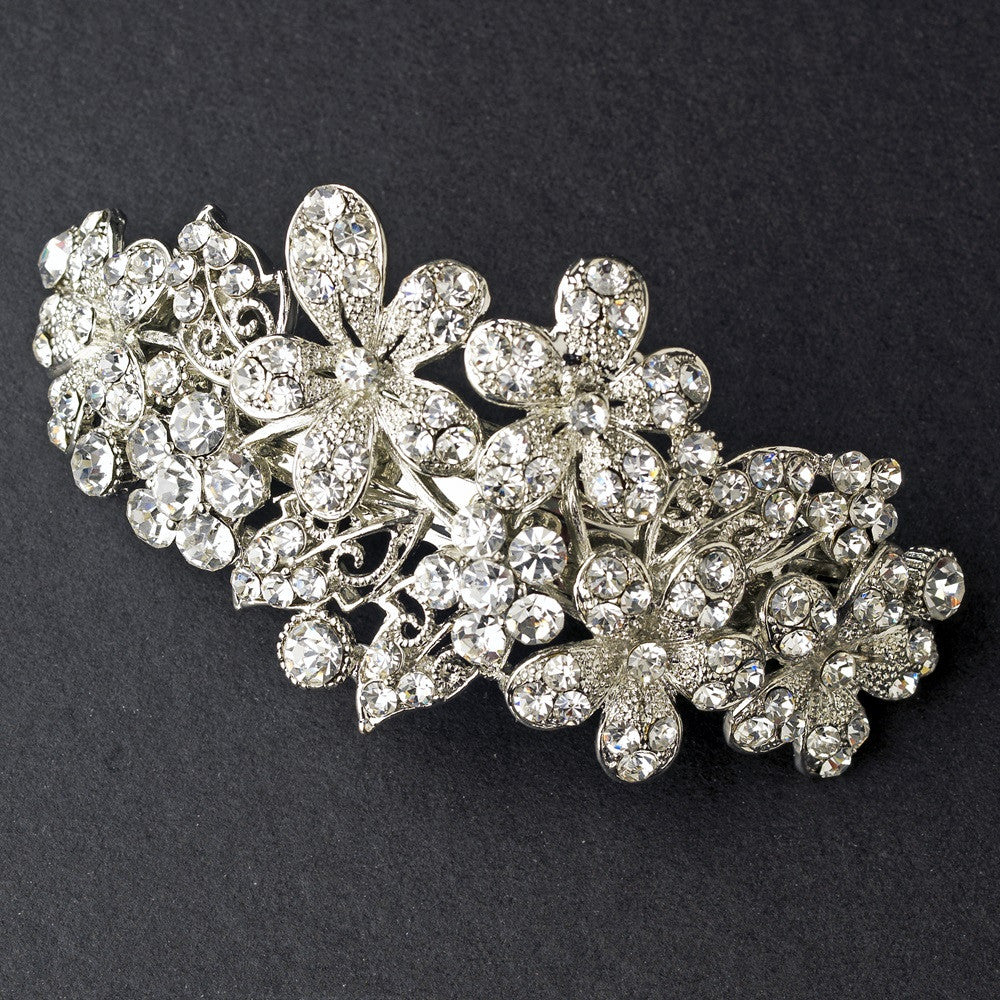 Bridal Wedding Hair Barrette 5040 Rhodium Silver Clear