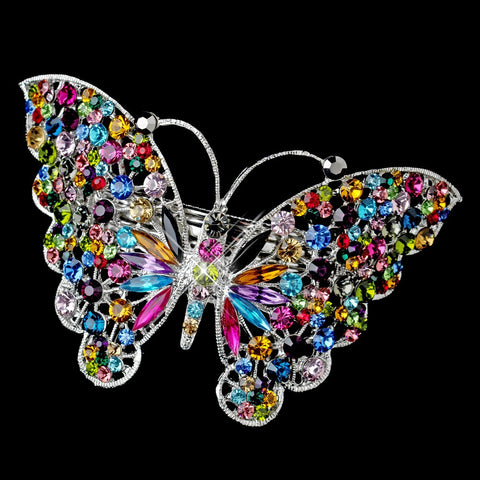 Silver Multi Mix Color Rhinestone Butterfly Bridal Wedding Hair Barrette 5090 XXL