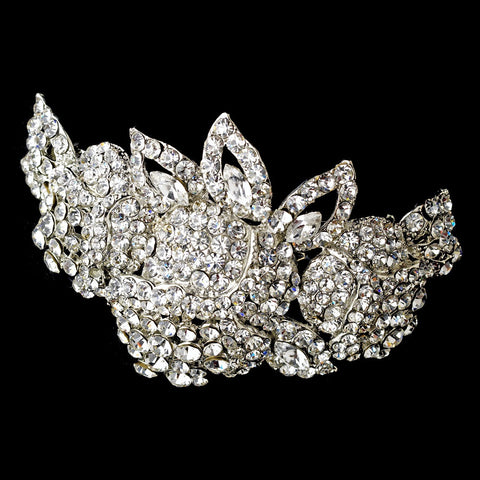 Bridal Wedding Hair Barrette 5100 Silver Clear