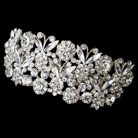 Bridal Wedding Hair Barrette 5190 Silver Clear