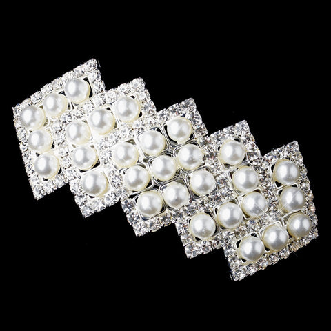 Silver Zigzag Rhinestone & White Pearl Bridal Wedding Hair Barrette 70822