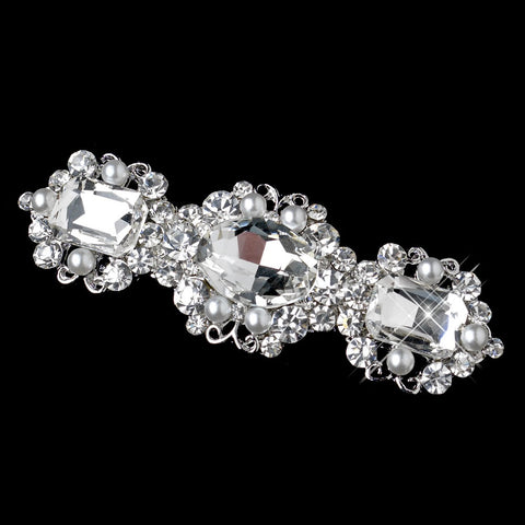 Antique Silver White Pearl & Rhinestone Bridal Wedding Hair Barrette 70991