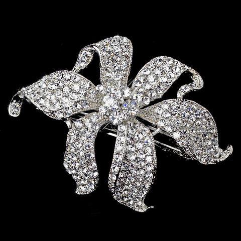 Small Silver Clear Flower Bridal Wedding Hair Barrette 7