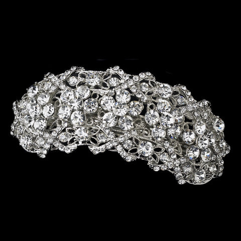 Silver Clear Bridal Wedding Hair Barrette 8336
