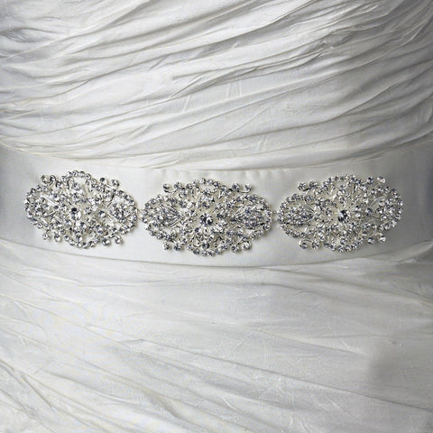 Modern Silver-Plated Rhinestone Flowers on Ribbon Sash Bridal Wedding Belt 107