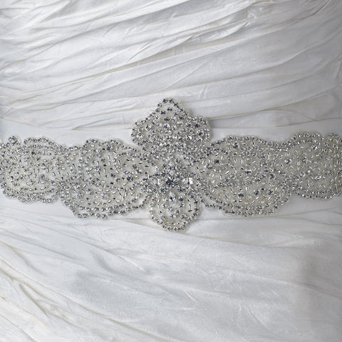 Rhinestone & Glass Bead Sheer Organza Floral Bridal Wedding Belt 291