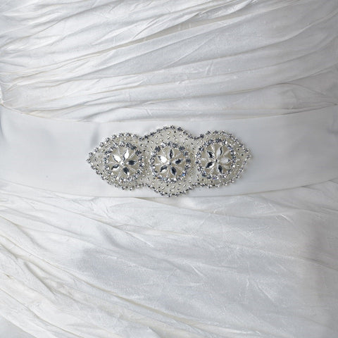 * Rhinestone & Glass Bead Sash Satin Bridal Wedding Belt 293