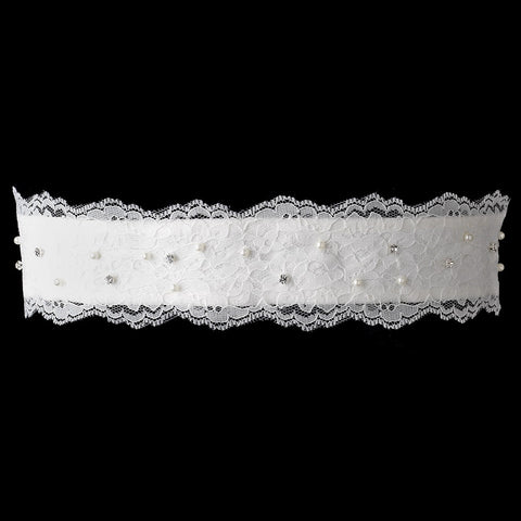 Pearl & Rhinestone Embroidered Lace Sash Bridal Wedding Belt 300