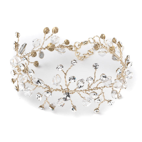 Light Gold Crystal Vine Leaf Bridal Wedding Bracelet 10001
