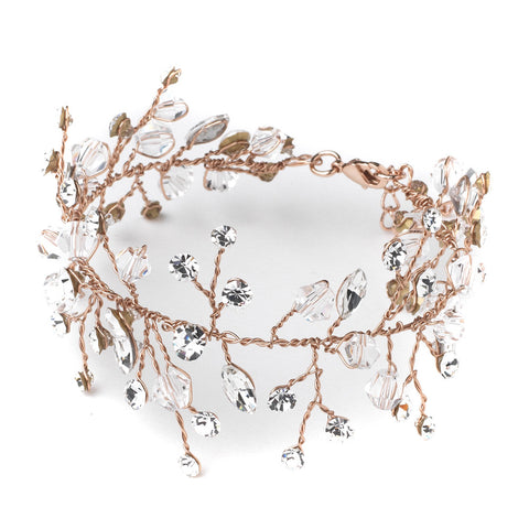Rose Gold Crystal Vine Leaf Bridal Wedding Bracelet 10001