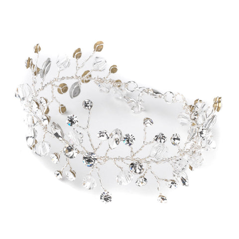 Silver Clear Crystal Vine Leaf Bridal Wedding Bracelet 10001