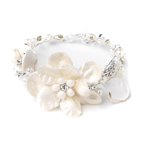 Fabric Flower Bridal Wedding Bracelet with Pearl & Rhinestone Accents 10001