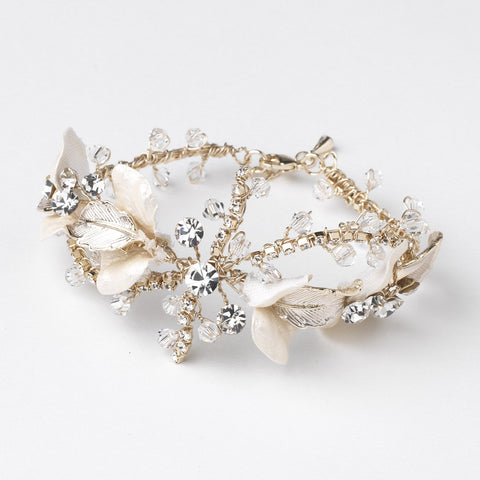 Light Gold Rum Pink Crystal Rhinestone Leaf Bridal Wedding Bracelet 10004