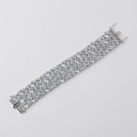 Rhodium Clear Oval & Round CZ Bridal Wedding Bracelet 13049