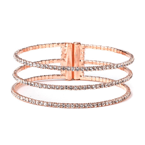 Rose Gold 3 Row Rhinestone Bridal Wedding Bracelet 306