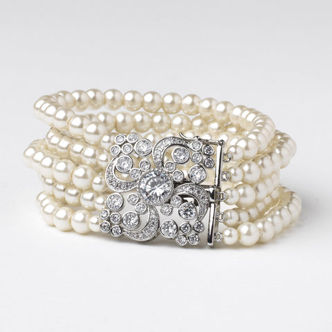 Rhodium CZ 5 Row Ivory Pearl Bridal Wedding Bracelet 82064