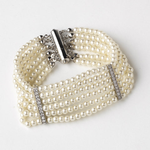 Rhodium Ivory 6 Row Pearl Stretch Bridal Wedding Bracelet 82065