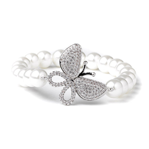 Rhodium CZ & Diamond White Pearl Butterfly Bridal Wedding Bracelet 82068