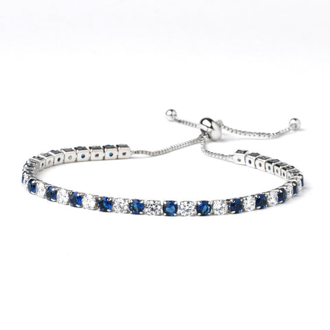Rhodium Clear & Sapphire CZ Adjustable Bridal Wedding Bracelet 82069